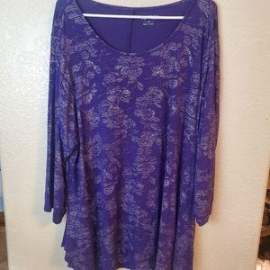 APT.9 purple floral embroidered flowy boho tunic